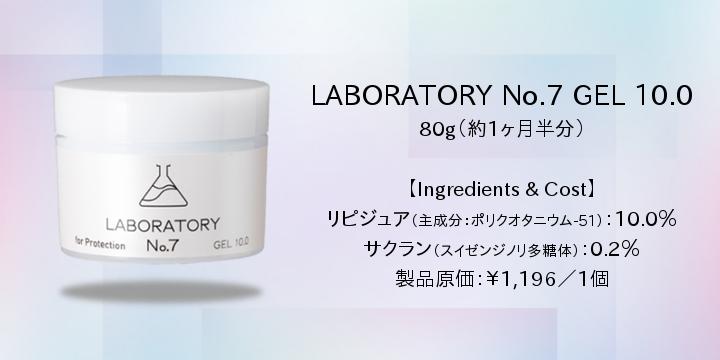 GEL10.0 80g(約一ヶ月半分)配合成分 リピジュア:10.0% サクラン:0.2% :原料原価¥190/本